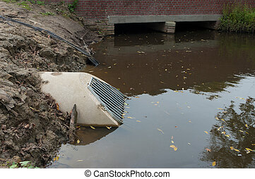 concrete culvert - new concrete culvert with bars leading...