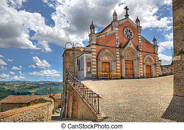 Old church in Castiglione Falletto, Italy - View on old...