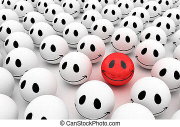 Isolated glossy 3d standard smiling smileys crowd