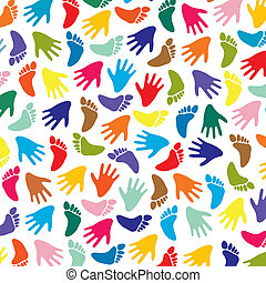 vector colorful feet and hands