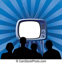 vector family watching retro tv set - vector illustration of...