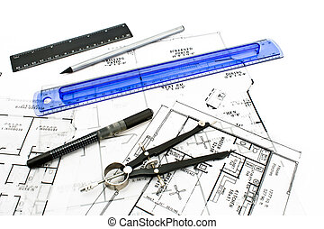 House plan blueprints with drawing tools