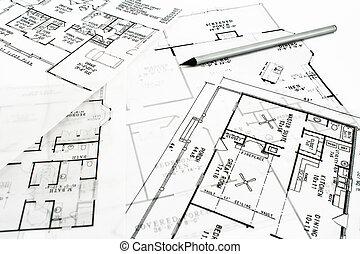 House plan blueprints with pencil - House plan blueprints...