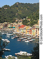 View on Portofino, Italy. - Vertical oriented image of...