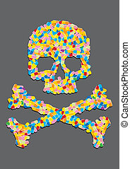 Skull made u200Bu200Bof a capsule pill, on a gray background...