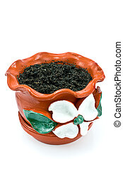 Red clay flowerpot with soil