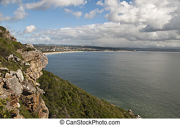 Sea view - The view of the sea next to a rocky hill,...