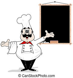 Cartoon chef cook with blank recipe menu chalkboard
