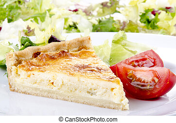 cheese and onion quiche with tomato