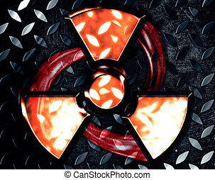 symbol of radiation on a steel background