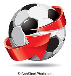 Soccer ball and arrow