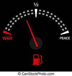 War and peace - Speedometer for war and peace on black...