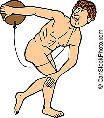 Discus thrower taking out a tooth on white background