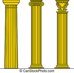 Three columns - Three different yellow columns isolated on...