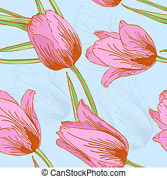 Vector tulips seamless background.