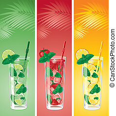 Refreshing mojito cocktails, lime, strawberry and orange...