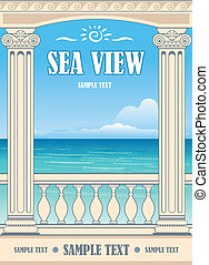 Wonderful sea view between roman columns Vector background
