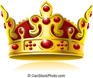 Gold crown with red gems, Isolated On White Background,...