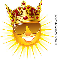 Sun in a golden crown - Smiling sun in a golden crown