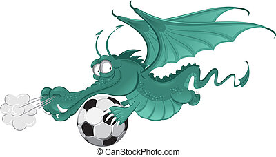 Dragon and soccer ball - Illustration of the dragon and...