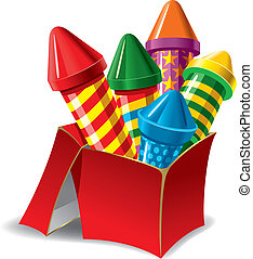 Fireworks in the Box - Firework rockets in the box Vector