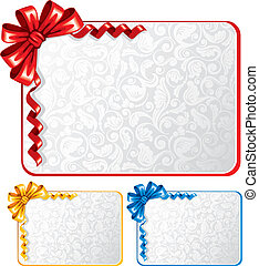 Set of bows with greeting cards - Collection of bows and...