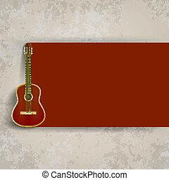 brown acoustic guitar - abstract grunge background with...