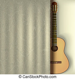 music background with guitar and curtain