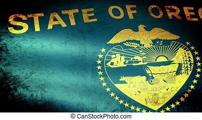 Oregon State Flag Waving, grunge look