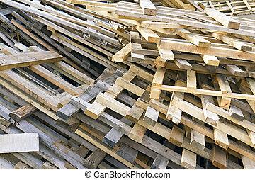 empilhado, Montão, madeira, Pallets