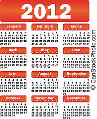 calendar for 2012 - red vector calendar for 2012