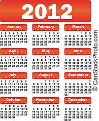 calendar for 2012 - red vector calendar for 2012