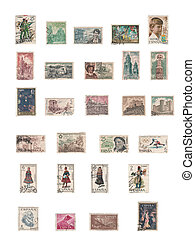 old stamps - collection of old spain stamps in white...