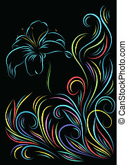 blue lily - vector colorful floral abstract pattern