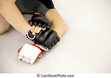 MMA Training hands - Training MMA detail of two people...