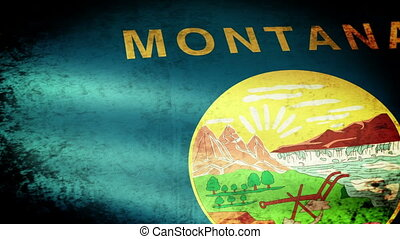 Montana State Flag Waving, grunge look