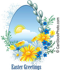 Easter banner with spring flowers - Easter greetings card...