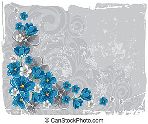 Floral grunge background - Flowers forget-me-not on gray...