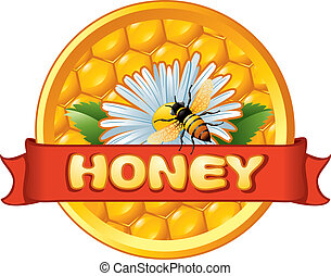 Bee and flower on honeycomb Background for you design