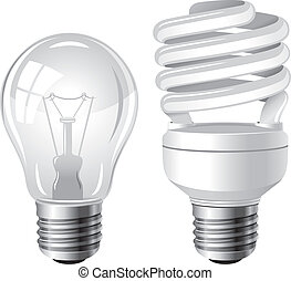 Two type of light bulbs - Incandescent and fluorescent...