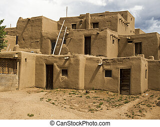 Historic Pueblo Building - A traditional pueblo building in...