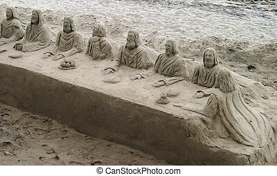 Last Supper In The Sand - A sand sculpture of the Last...