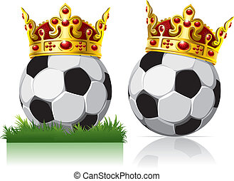 Soccer ball with a golden crown. On the grass and on the...