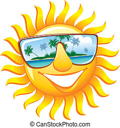 Cheerful sun in sunglasses with the reflection of a tropical...