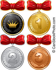 Medals - Gold, Silver, Bronze and Royal Medals with red bow