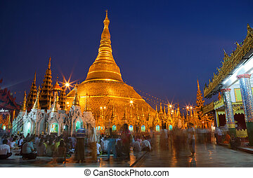 Shwedagon Paya temple in Yangoon. Most sacred and biggest...