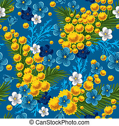 seamless pattern with forget-me and mimosas - Beautiful...