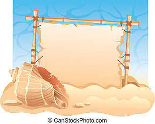 Bamboo Frame with seashell Detailed vector picture
