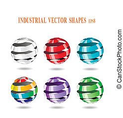 Abstract spiral balls - Multi-colored balls of steel strip...