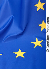 European Union Flag - Closeup of Glossy Flag of European...